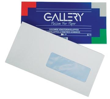 Gallery enveloppen ft 114 x 229 mm, met venster rechts, gegomd, pak van 50 stuks