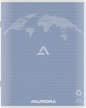 Aurora Writing 45 kladschrift uit gerycleerd papier, 200 bladzijden, geruit 5 mm, lichtblauw