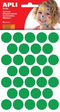Apli Kids stickers, cirkel diameter 20 mm, blister met 180 stuks, groen