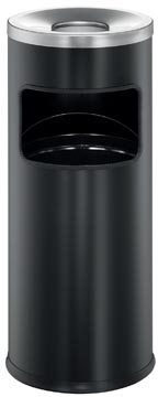 Durable afvalbak met asbak Safe, 17 liter, in metaal, zwart