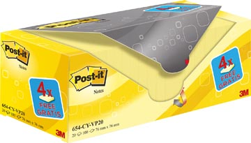 Post-it Notes, ft 76 x 76 mm, geel, 100 vel, pak van 16 + 4 gratis