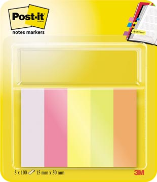 Post-it Notes Markers, ft 15 x 50 mm, geassorteerde kleuren, blister met 5 blokjes van 100 vel