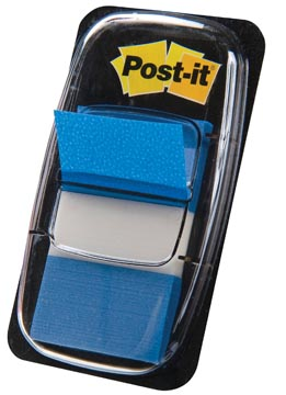Post-it Index standaard, ft 25,4 x 43,2 mm, blauw, houder met 50 tabs